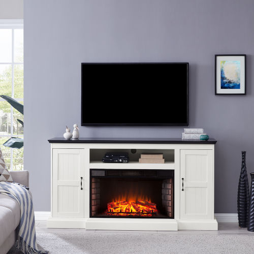 Belranton White and black Widescreen Electric Fireplace with Media Console