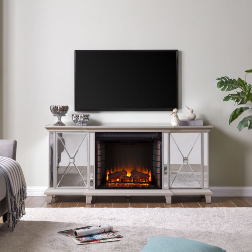 Toppington Mirror and silver Mirrored Electric Fireplace with Media Console