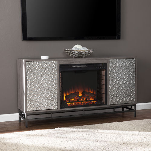 Hollesborne Gray and gunmetal gray Electric Fireplace with Media Storage
