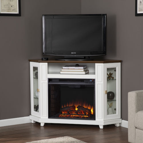 Dilvon White and brown Electric Fireplace with Media Storage