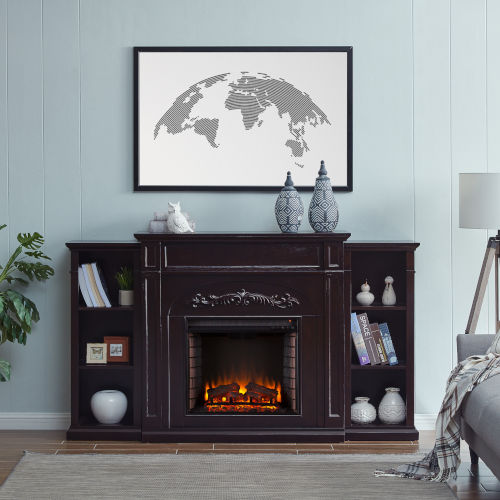 Chantilly Espresso Electric Fireplace with Bookcase