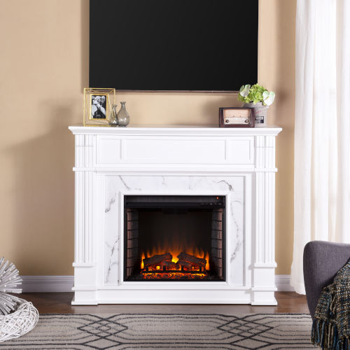 Highgate White Faux Cararra Marble Electric Media Fireplace