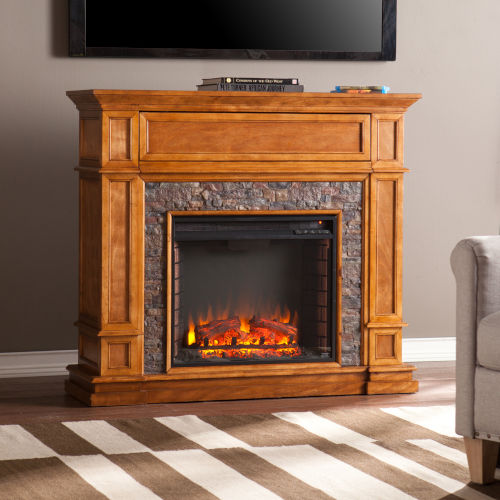 Belleview Sienna Simulated Stone Media Center Electric Fireplace