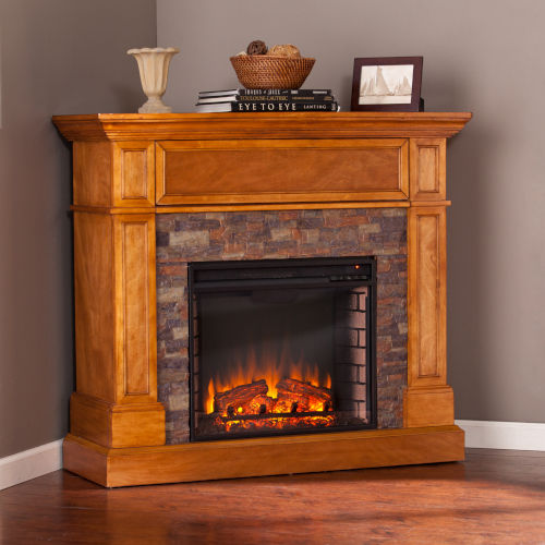 Rosedale Sienna Stone Look Convertible Electric Media Fireplace