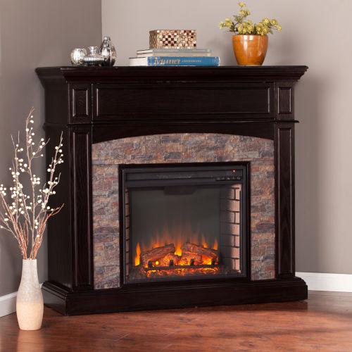 Grantham Ebony Faux Stone Corner Electric Media Fireplace