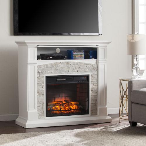 Seneca Crisp White Electric Media Fireplace
