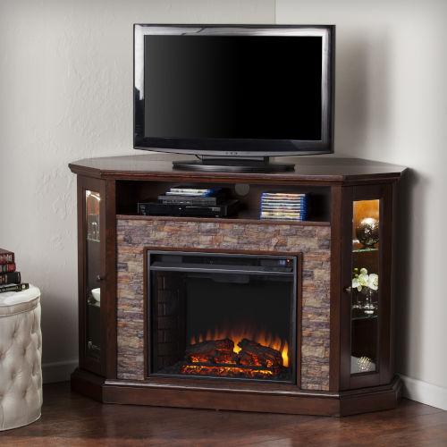 Redden Espresso Corner Convertible Electric Media Fireplace