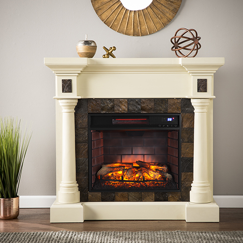 Carrington Ivory with Earth Toned Tles Infrared Fireplace