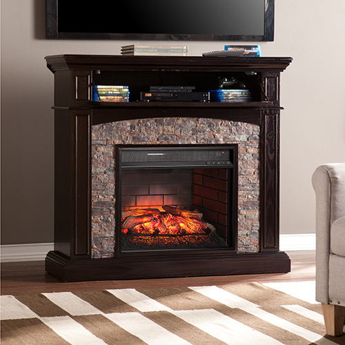 Grantham Ebony with Black Faux River Ston Infrared Fireplace