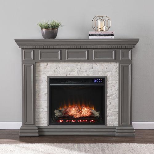 Dakesbury Gray Faux Stone Electric Fireplace