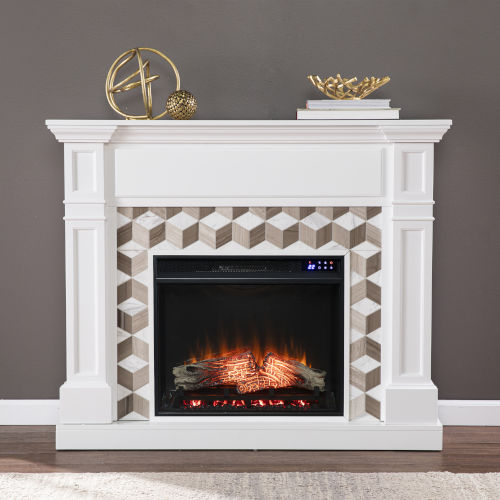 Darvingmore White Electric Fireplace with Marble Surround