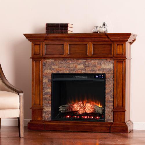 Merrimack Buckeye Oak Electric Convertible Fireplace with Faux Stone