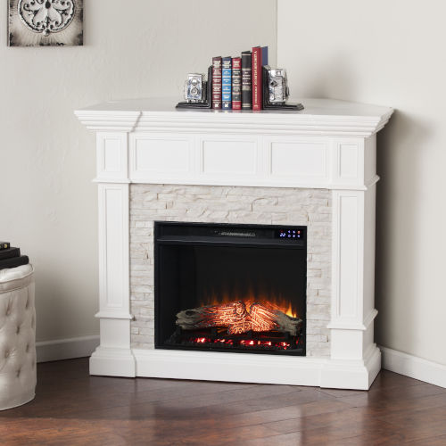 Merrimack Fresh White Electric Convertible Fireplace with Faux Stone