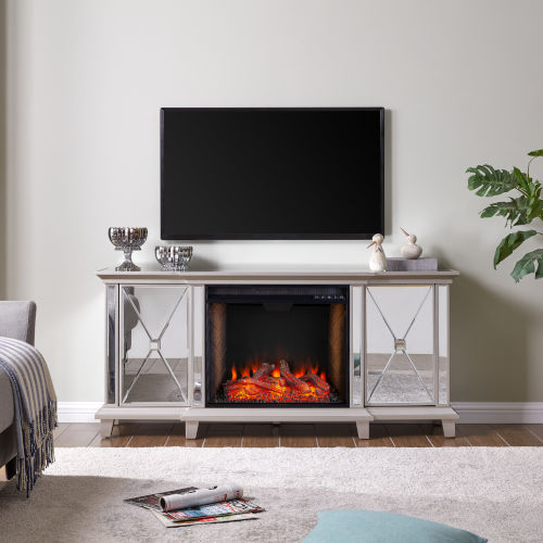 Toppington Mirror and silver Mirrored Electric Fireplace with Media Console and Alexa Firebox