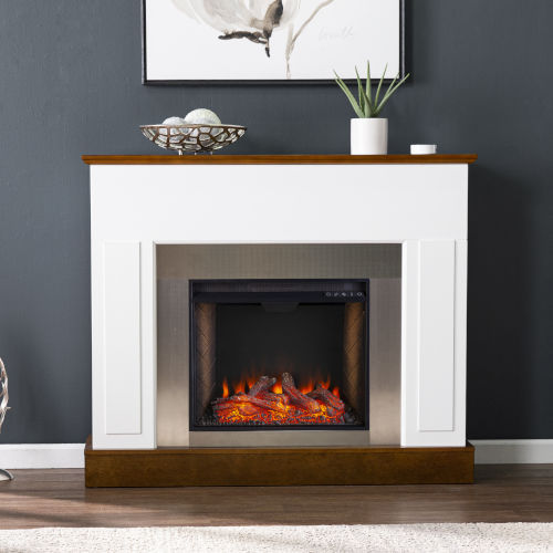 Eastrington White and Dark Tobacco Alexa Smart Fireplace