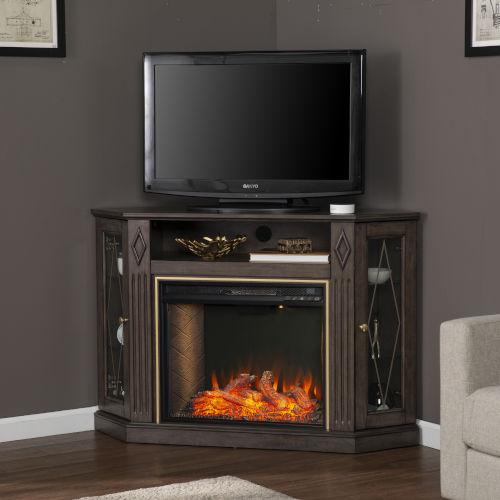 Austindale Light Brown Smart Corner Fireplace with Media Storage
