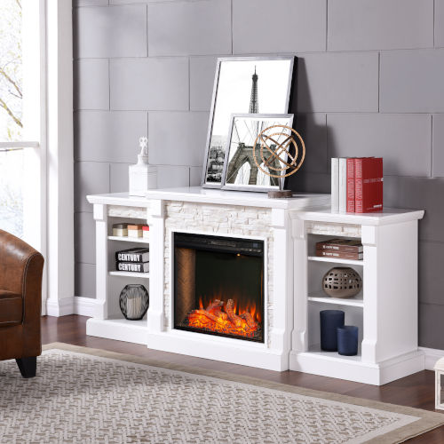 Gallatin White Electric Fireplace with Alexa-Enabled Smart and Bookcase