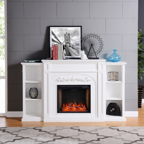 Chantilly White Electric Fireplace with Alexa-Enabled Smart and Bookcase