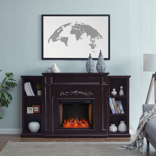 Chantilly Espresso Electric Smart Fireplace with Bookcase