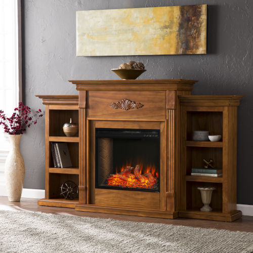 Tennyson Glazed pine Electric Fireplace with Alexa-Enabled Smart and Bookcase