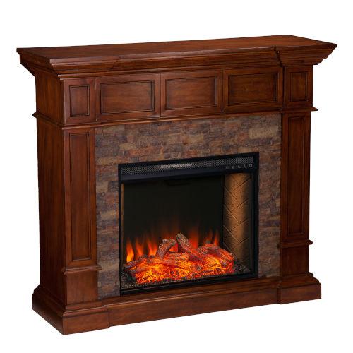 Merrimack Buckeye Oak Smart Convertible Electric Fireplace with Faux Stone