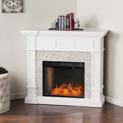 Merrimack Fresh White Smart Convertible Electric Fireplace with Faux Stone