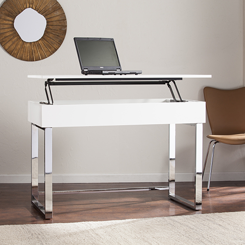 Inman High Gloss White with Chrome Desk