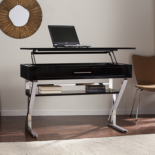 Lozano High Gloss Black with Brushed Nickel Desk