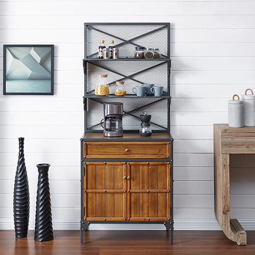 Bexfield Gunmetal Gray with Natural Pine Bakers Rack