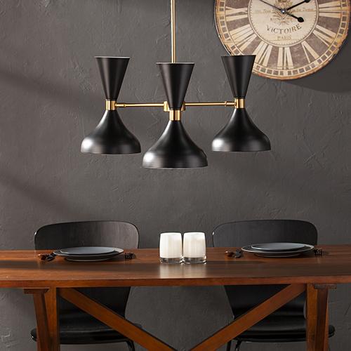 Anza Black and Antique Brass Three-Light Pendant