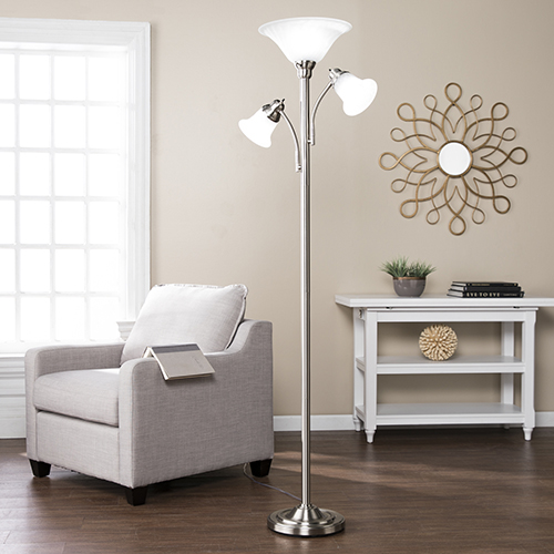 Orson Brushed Nickel with Frosted White Glass Three-Light Floor Lamp