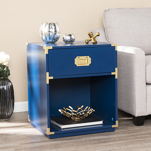 Campaign Navy with Brass Side Table