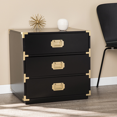 Campaign Black and Brass 24-Inch Accent Chest