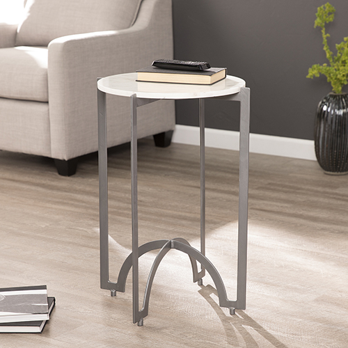 Sherra Gunmetal Gray and White Marble Accent Table