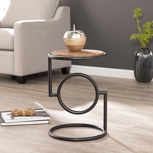 Vera Black and Natural Mango Accent Table