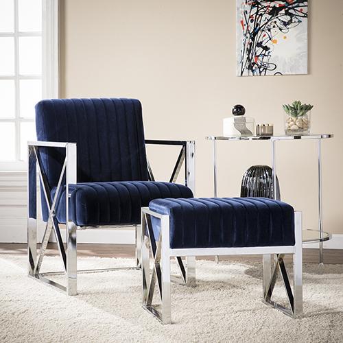 Ellison Rich Deep Blue and Chrome Chair