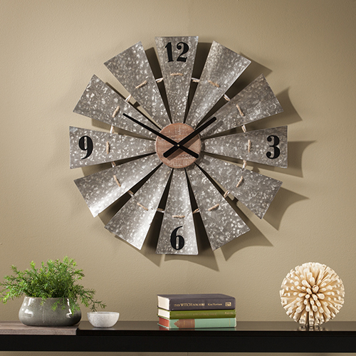 Brevan Aged Galvanized Metal and Natural Wood Wall Clock
