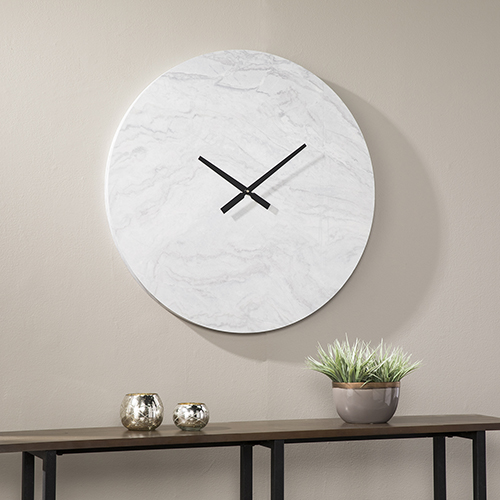 Coloma White and Faux Stone with soft Gray Wall Clock