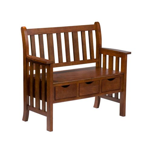 Pecos Oak Three-Drawer Country Bench