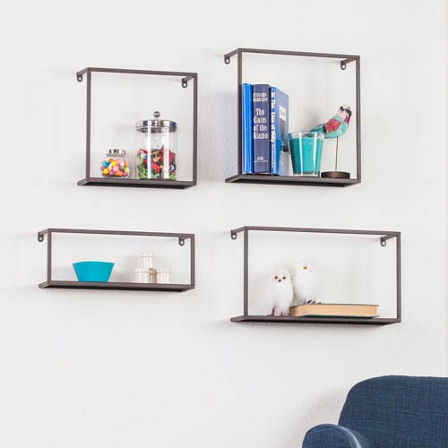 Zyther Metal Wall Shelves, Four Piece Set