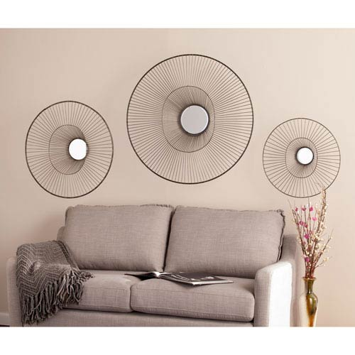 Whoso Mirrored Wall Sculptures, Three Piece Set