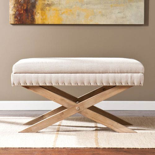Southern Enterprises Cream Corsica Storage X Bench