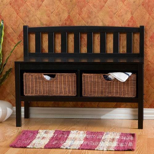 Southern Enterprises Black Bench Including Rattan Baskets