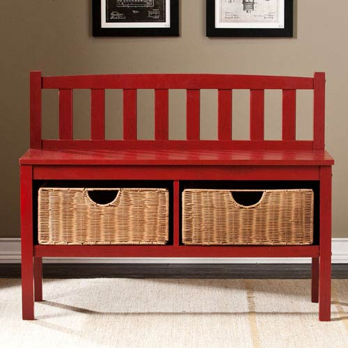Red Bench with Storage Baskets