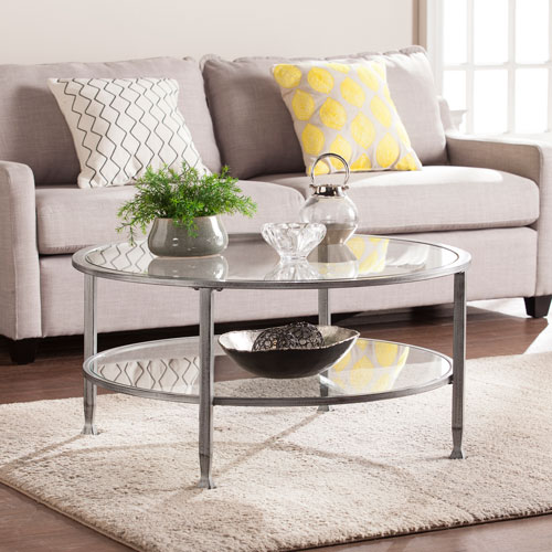 Southern Enterprises Jaymes Silver Metal And Glass Round Cocktail Table