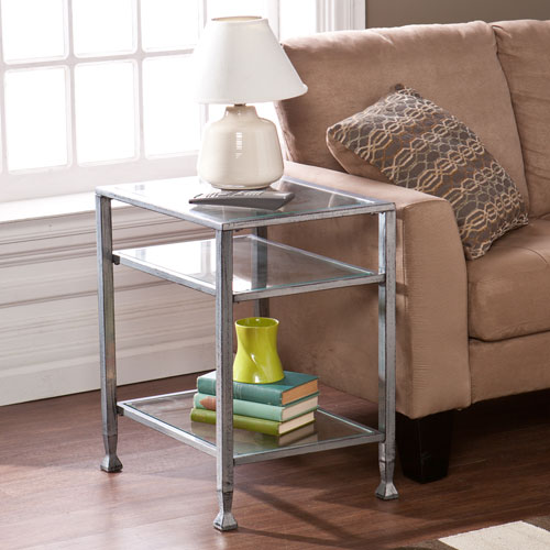 Silver Metal and Glass End Table