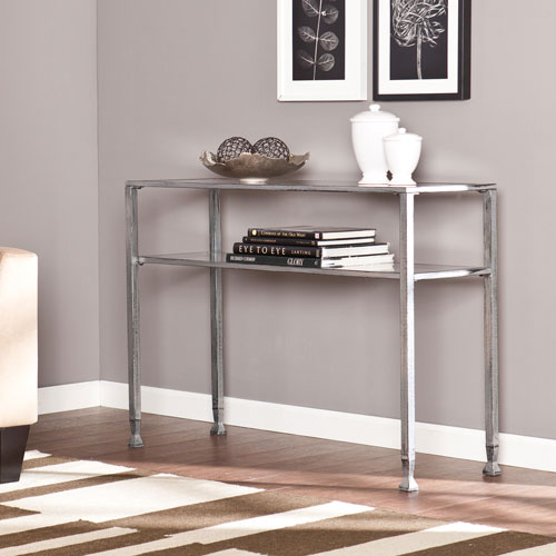 Silver Metal and Glass Console Table