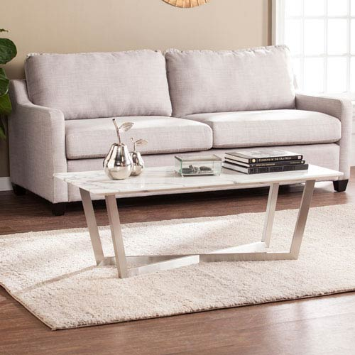 Southern Enterprises Wrexham Faux Marble Cocktail Table - Soft Ivory with Gray