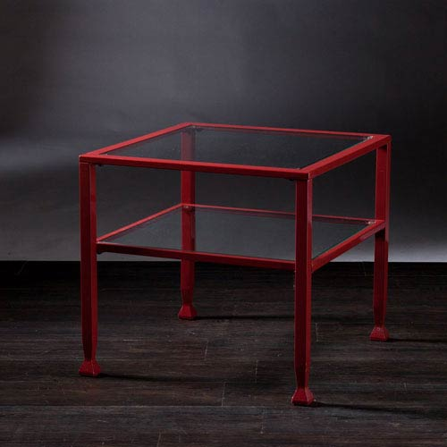Southern Enterprises Red Glass Bunching Cocktail Table