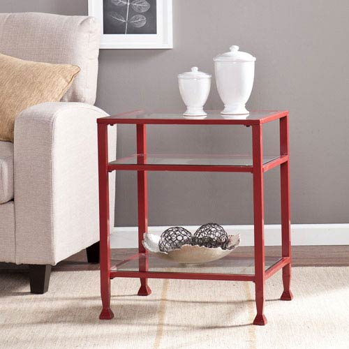 Red Glass End Table